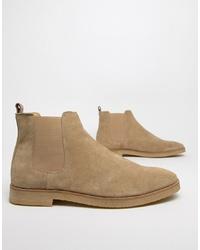 beige Chelsea-Stiefel aus Wildleder von WALK LONDON