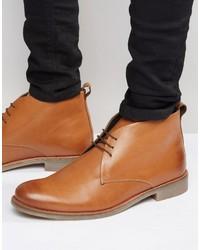 beige Chukka-Stiefel aus Leder