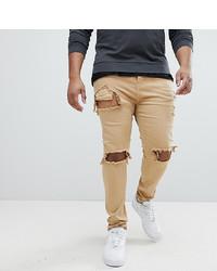 beige enge Jeans mit Destroyed-Effekten von Sixth June
