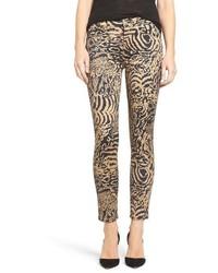 beige enge Jeans mit Leopardenmuster