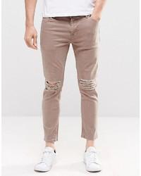 beige enge Jeans von Asos