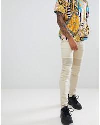 beige enge Jeans von Sixth June