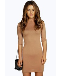 beige figurbetontes Kleid