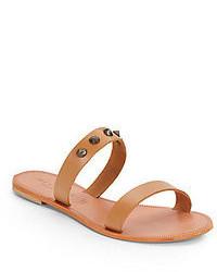 beige flache Sandalen aus Leder