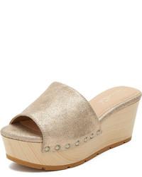 beige flache Sandalen aus Leder von Splendid