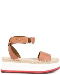 beige flache Sandalen aus Leder von Stella McCartney