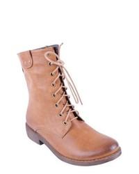 Beige flache stiefel mit schnuerung original 11408828