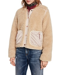 beige Fleece-Bomberjacke