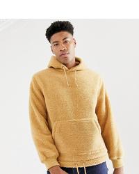 beige Fleece-Pullover mit einem Kapuze