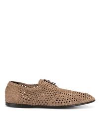 beige geflochtene Leder Derby Schuhe von Dolce & Gabbana