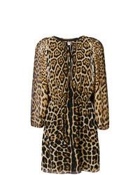 beige gerade geschnittenes Kleid mit Leopardenmuster