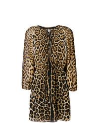 beige gerade geschnittenes Kleid mit Leopardenmuster von Saint Laurent