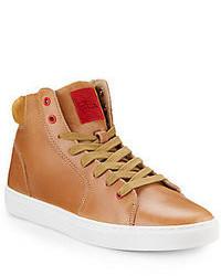 beige hohe Sneakers aus Leder