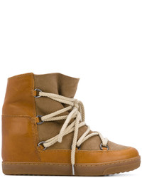 beige hohe Sneakers aus Leder von Isabel Marant