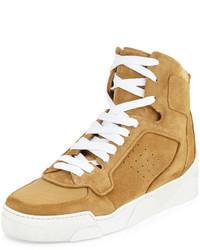 beige hohe Sneakers aus Segeltuch