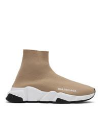 beige hohe Sneakers aus Segeltuch von Balenciaga