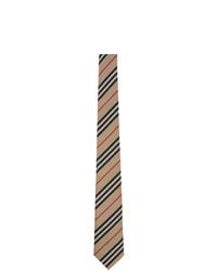 beige horizontal gestreifte Krawatte von Burberry