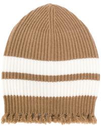 beige horizontal gestreifte Mütze von MSGM