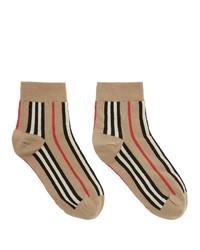 beige horizontal gestreifte Socken von Burberry