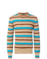beige horizontal gestreifter Pullover mit einem Rundhalsausschnitt