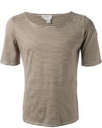beige horizontal gestreiftes T-Shirt mit einem Rundhalsausschnitt