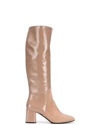 beige kniehohe Stiefel aus Leder von Casadei