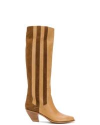 beige kniehohe Stiefel aus Leder von Golden Goose Deluxe Brand