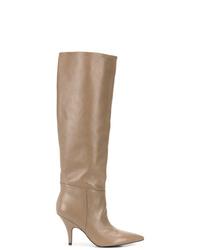 beige kniehohe Stiefel aus Leder von Kendall & Kylie