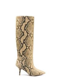beige kniehohe Stiefel aus Leder von Yeezy