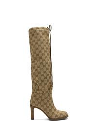 beige kniehohe Stiefel aus Segeltuch von Gucci