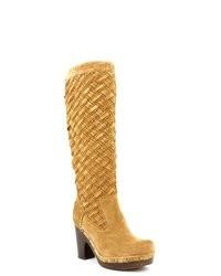 beige kniehohe Stiefel aus Wildleder