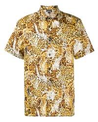 beige Kurzarmhemd mit Leopardenmuster von Just Cavalli