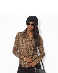 beige Langarmbluse mit Leopardenmuster