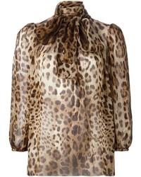 beige Langarmbluse mit Leopardenmuster von Dolce & Gabbana