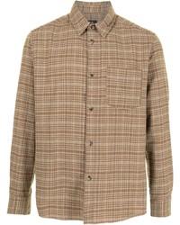 beige Langarmhemd mit Schottenmuster von A.P.C.