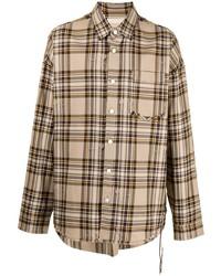 beige Langarmhemd mit Schottenmuster von Mastermind World
