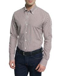 beige Langarmhemd mit Vichy-Muster