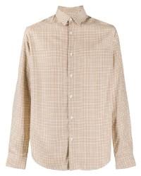 beige Langarmhemd mit Vichy-Muster von Sandro Paris