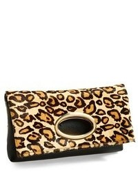 beige Leder Clutch mit Leopardenmuster