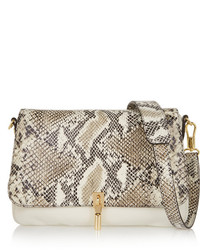 beige Leder Clutch mit Schlangenmuster von Elizabeth and James