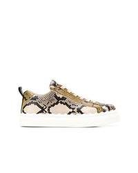 beige Leder niedrige Sneakers mit Schlangenmuster von Chloé