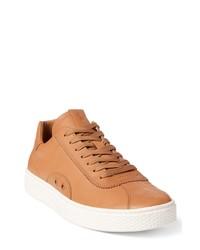 beige Leder niedrige Sneakers