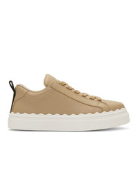 beige Leder niedrige Sneakers von Chloé