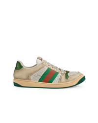 beige Leder niedrige Sneakers von Gucci