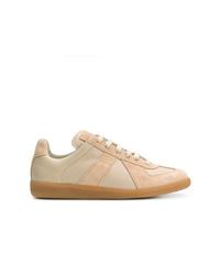 beige Leder niedrige Sneakers von Maison Margiela