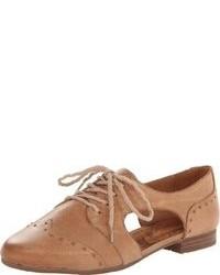 beige Leder Oxford Schuhe
