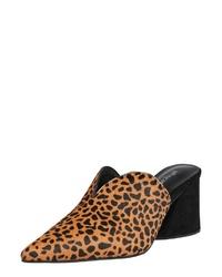 beige Leder Pantoletten mit Leopardenmuster von Jeffrey Campbell