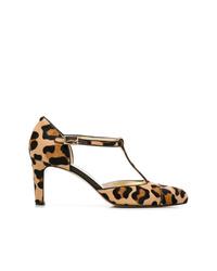 beige Leder Pumps mit Leopardenmuster von Antonio Barbato