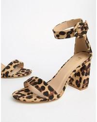 beige Leder Sandaletten mit Leopardenmuster