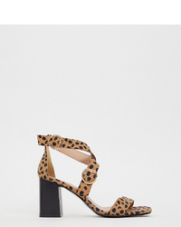 beige Leder Sandaletten mit Leopardenmuster von New Look